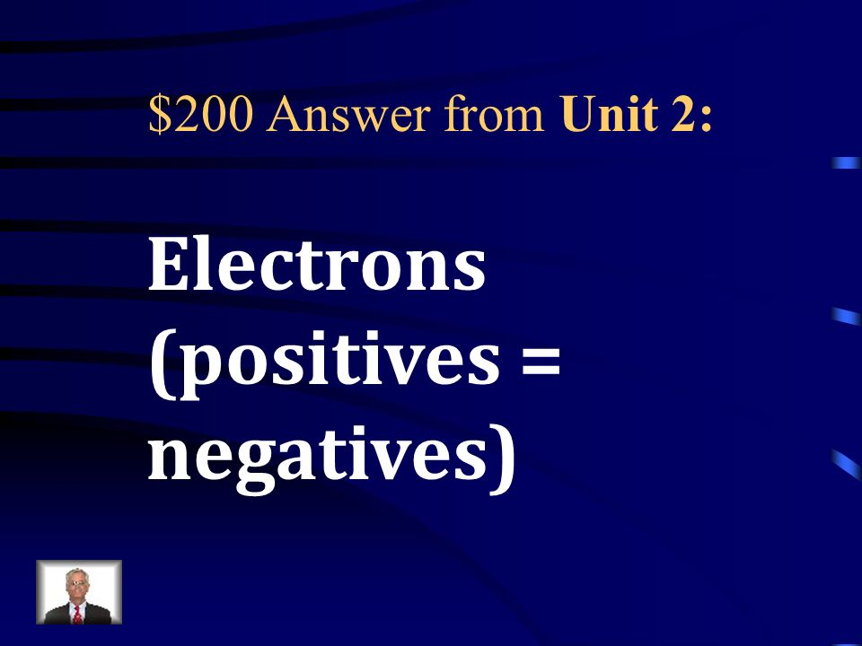 $200 Question from Unit 2: The number of protons has to be equal to the number of _____________ in a neutral atom.