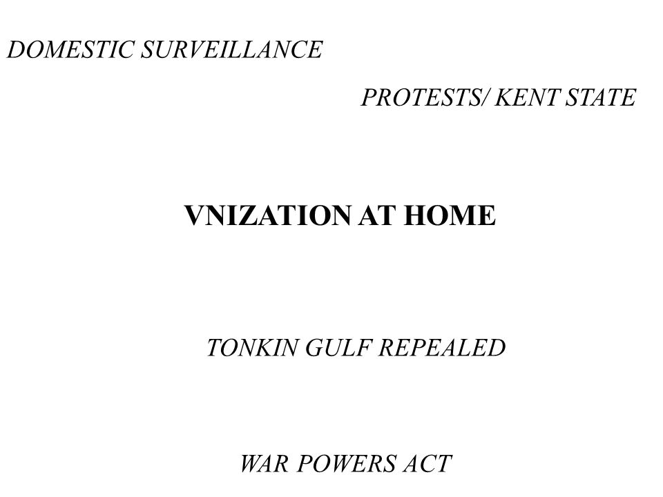 VNIZATION AT HOME DOMESTIC SURVEILLANCE PROTESTS/ KENT STATE TONKIN GULF REPEALED WAR POWERS ACT
