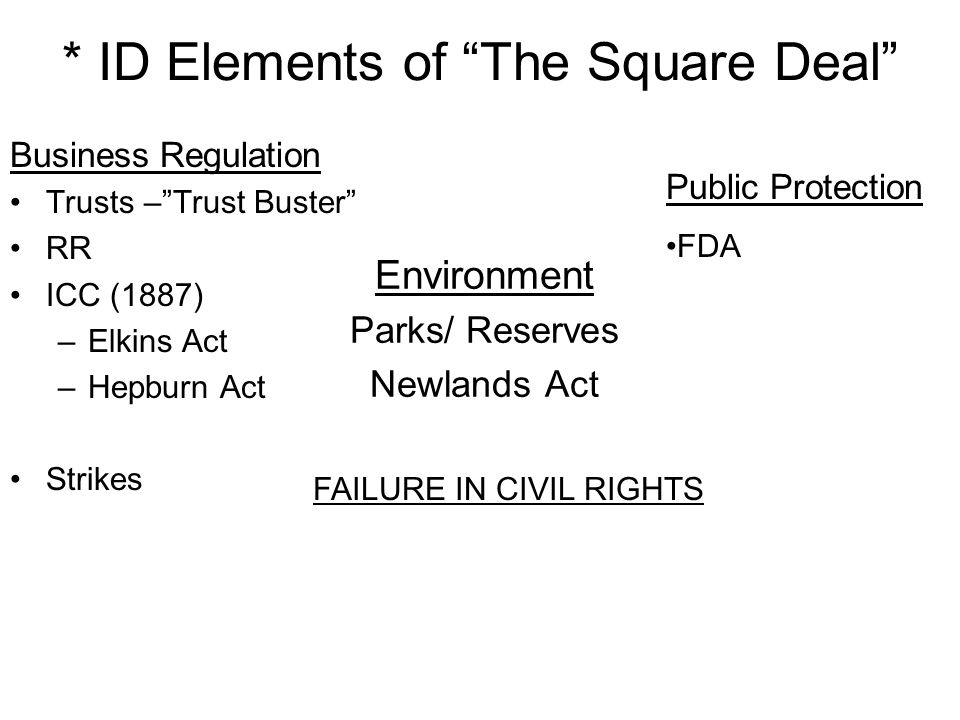 * ID Elements of The Square Deal Business Regulation Trusts –Trust Buster RR ICC (1887) –Elkins Act –Hepburn Act Strikes Environment Parks/ Reserves N