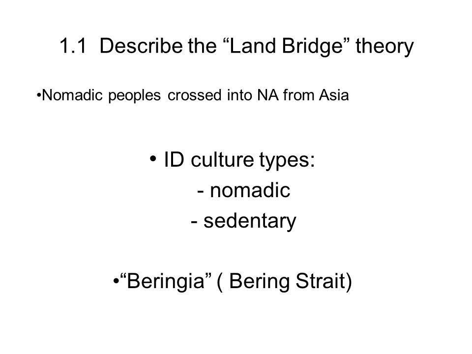 1.1 Describe the Land Bridge theory Nomadic peoples crossed into NA from Asia ID culture types: - nomadic - sedentary Beringia ( Bering Strait)