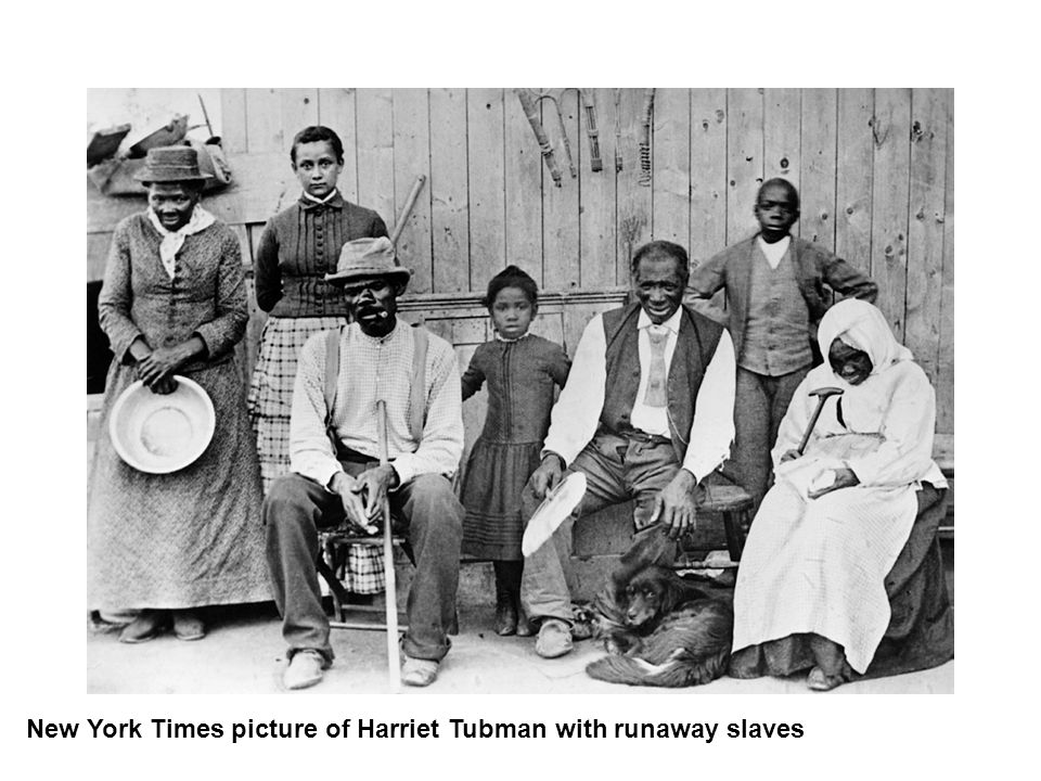 New York Times picture of Harriet Tubman with runaway slaves