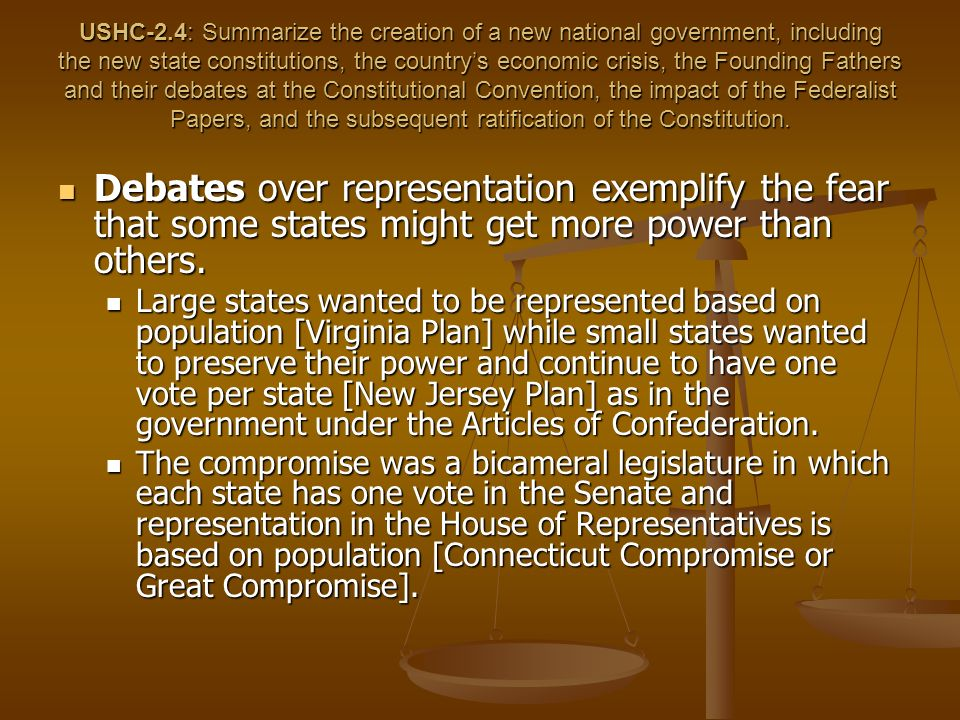 USHC-2.4: Summarize the creation of a new national government, including the new state constitutions, the countrys economic crisis, the Founding Fathers and their debates at the Constitutional Convention, the impact of the Federalist Papers, and the subsequent ratification of the Constitution.