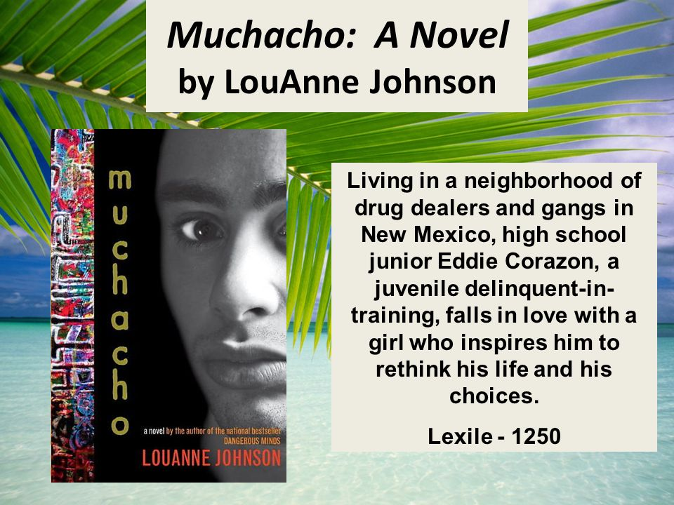 Muchacho: A Novel by LouAnne Johnson Living in a neighborhood of drug dealers and gangs in New Mexico, high school junior Eddie Corazon, a juvenile delinquent-in- training, falls in love with a girl who inspires him to rethink his life and his choices.