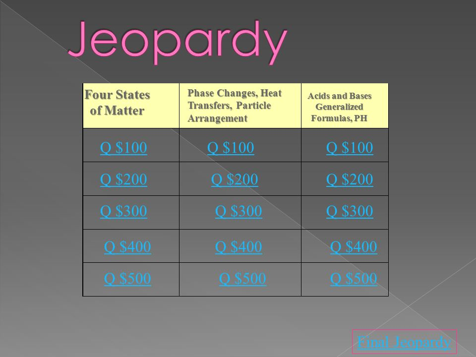 Four States of Matter Acids and Bases Generalized Formulas, PH Q $100 Q $200 Q $300 Q $400 Q $500 Q $100 Q $200 Q $300 Q $400 Q $500 Final Jeopardy Phase Changes, Heat Transfers, Particle Arrangement