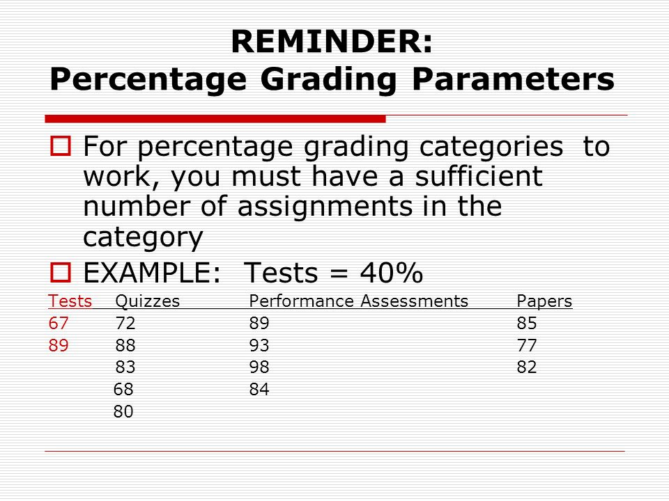 REMINDER: Percentage Grading Parameters For percentage grading categories to work, you must have a sufficient number of assignments in the category EXAMPLE: Tests = 40% TestsQuizzesPerformance AssessmentsPapers 67728985 89889377 839882 6884 80