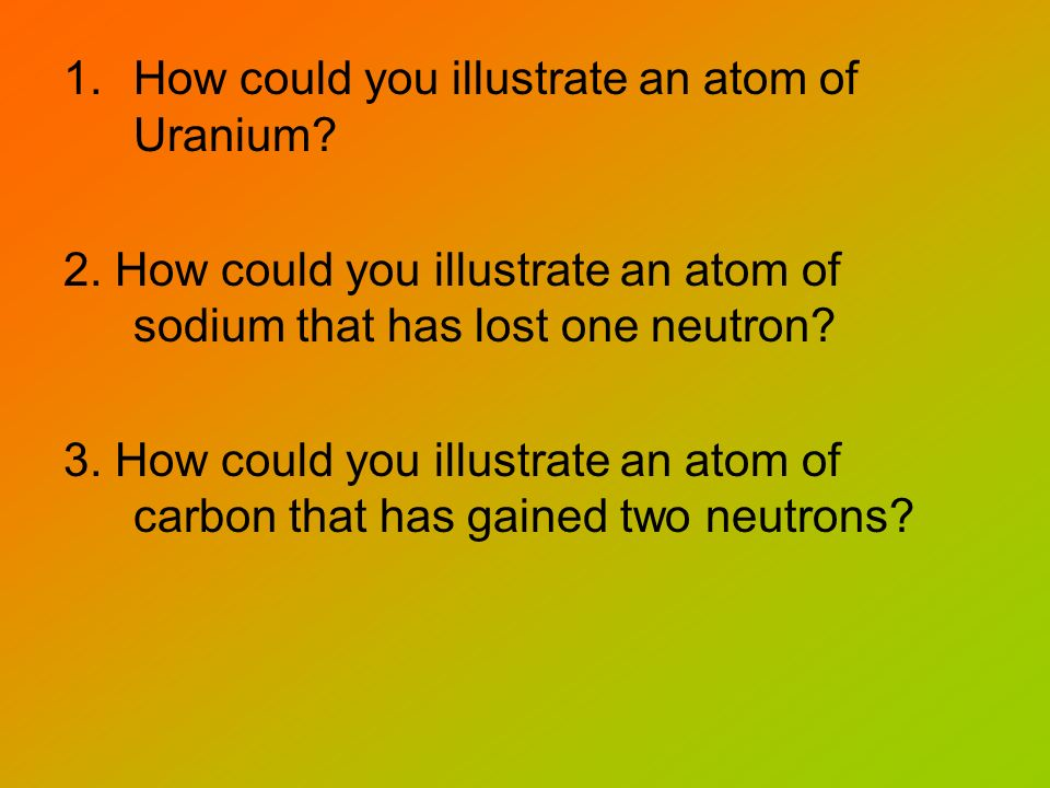 1.How could you illustrate an atom of Uranium? 2. How could you illustrate an atom of sodium that has lost one neutron? 3. How could you illustrate an