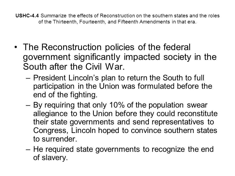 Reconstruction policy in the south
