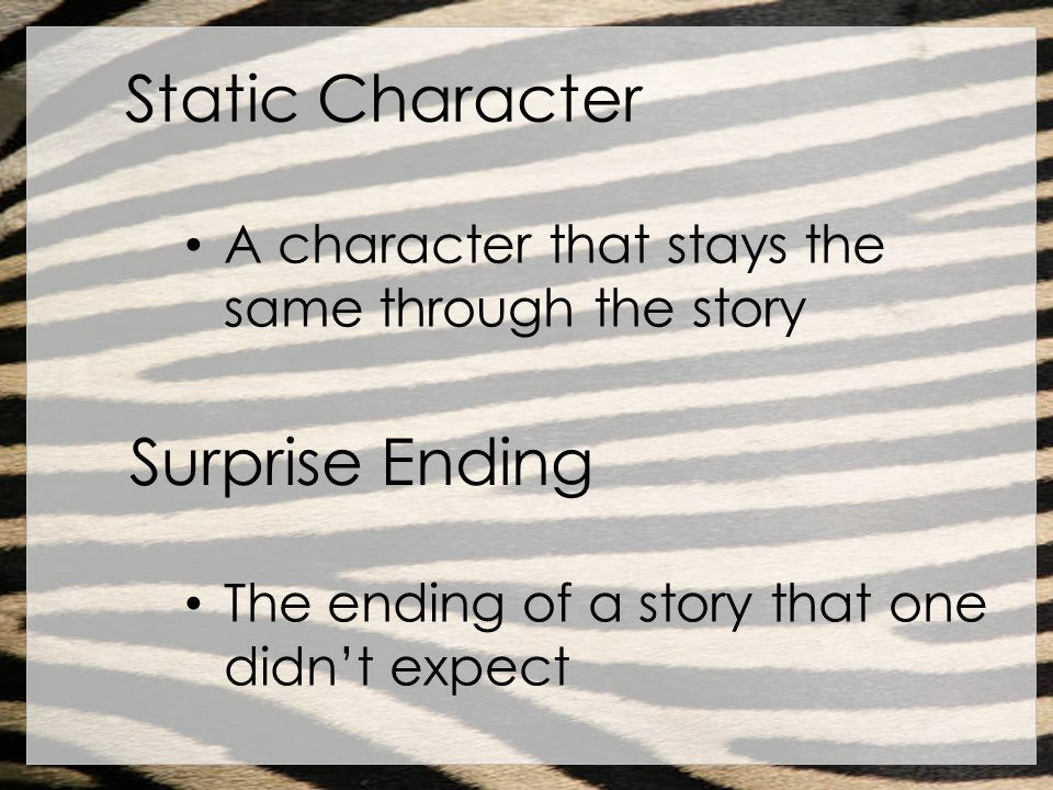 Static Character A character that stays the same through the story Surprise Ending The ending of a story that one didnt expect