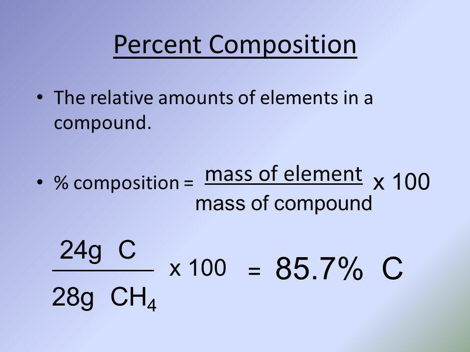 Percent Composition The relative amounts of elements in a compound. % composition = mass of element mass of compound x 100 24g C 28g CH 4 x 100 = 85.7