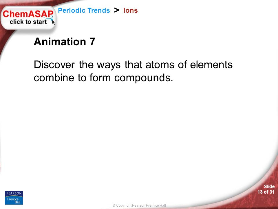 © Copyright Pearson Prentice Hall Slide 13 of 31 Periodic Trends > Ions Animation 7 Discover the ways that atoms of elements combine to form compounds