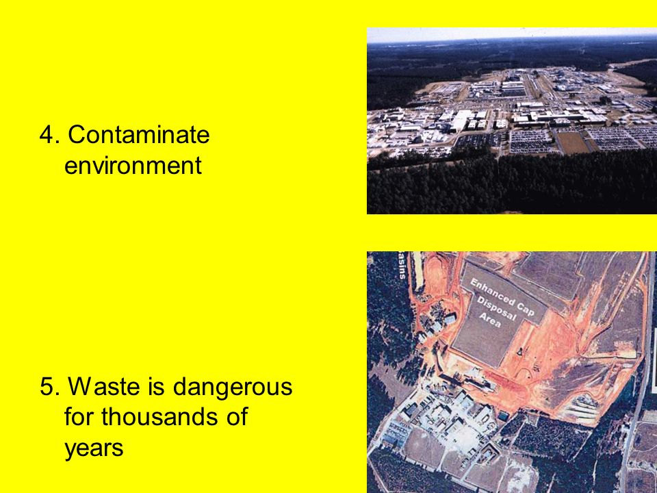 4. Contaminate environment 5. Waste is dangerous for thousands of years