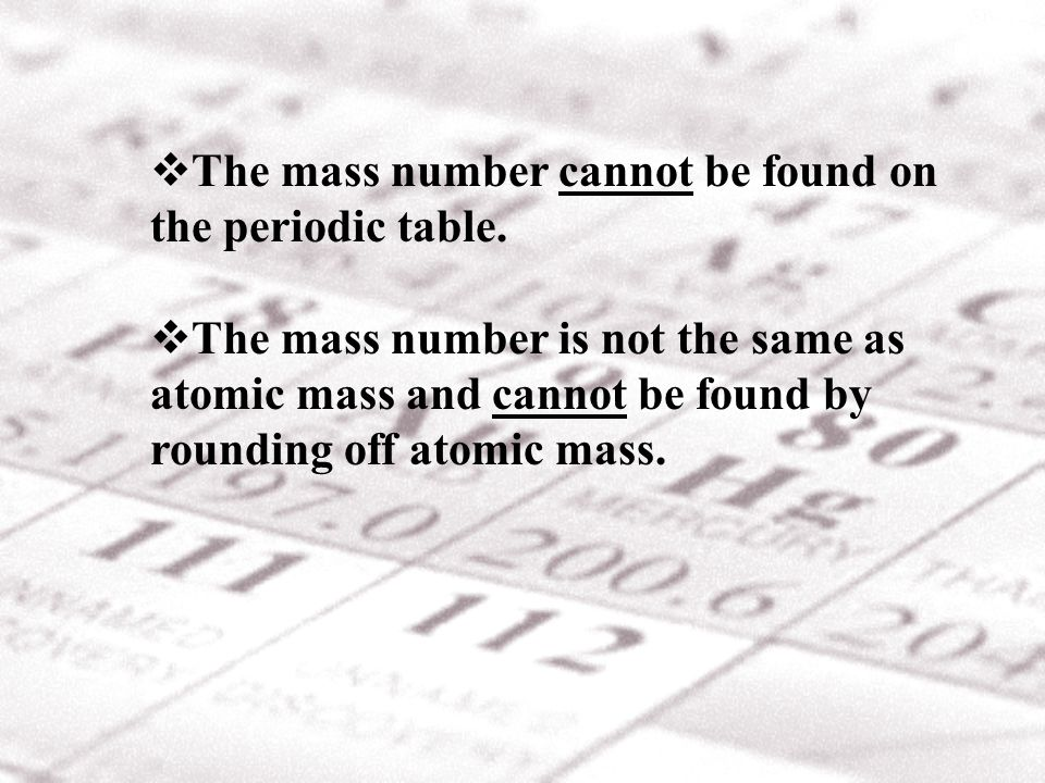 The mass number cannot be found on the periodic table.