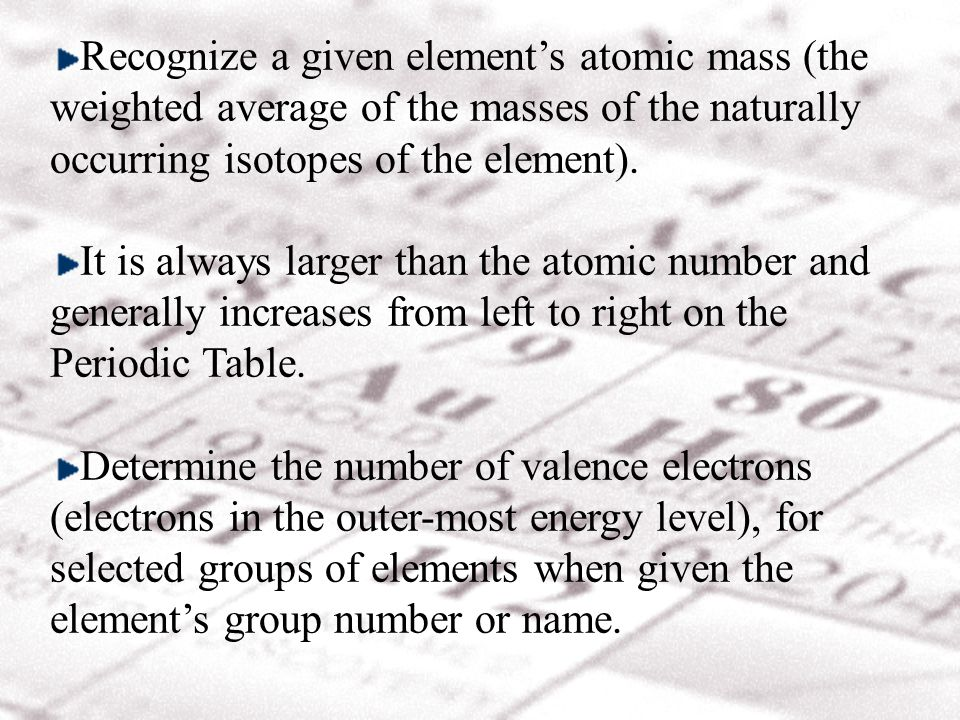 Recognize a given elements atomic mass (the weighted average of the masses of the naturally occurring isotopes of the element).