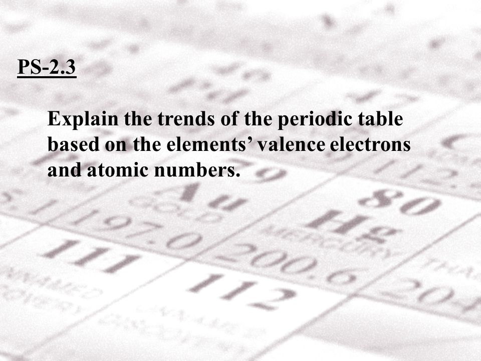 Periodic trends in the number of valence electrons: From left to right across periods 1-3: Atoms of all these elements contain one more valence electron than the atoms of the previous element.