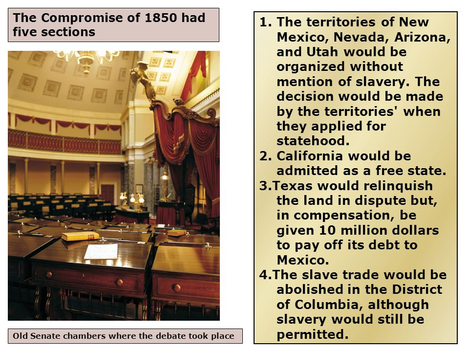 Fugitive Slave Law The fifth part of the Compromise of 1850, the Fugitive Slave Law, caused a storm of protest and would be a catalyst for Civil War eleven years later.