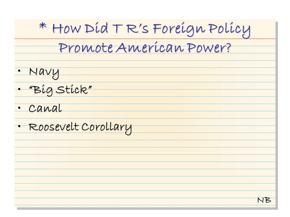 * How Did T Rs Foreign Policy Promote American Power.