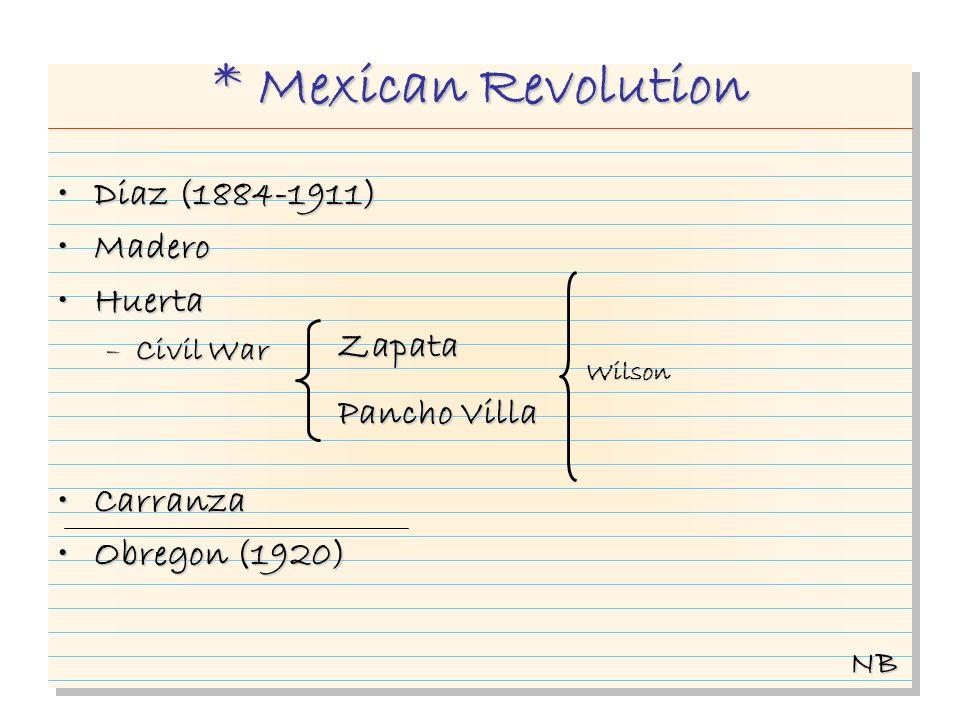 * Mexican Revolution Diaz (1884-1911)Diaz (1884-1911) MaderoMadero HuertaHuerta –Civil War CarranzaCarranza Obregon (1920)Obregon (1920) NB Zapata Pan