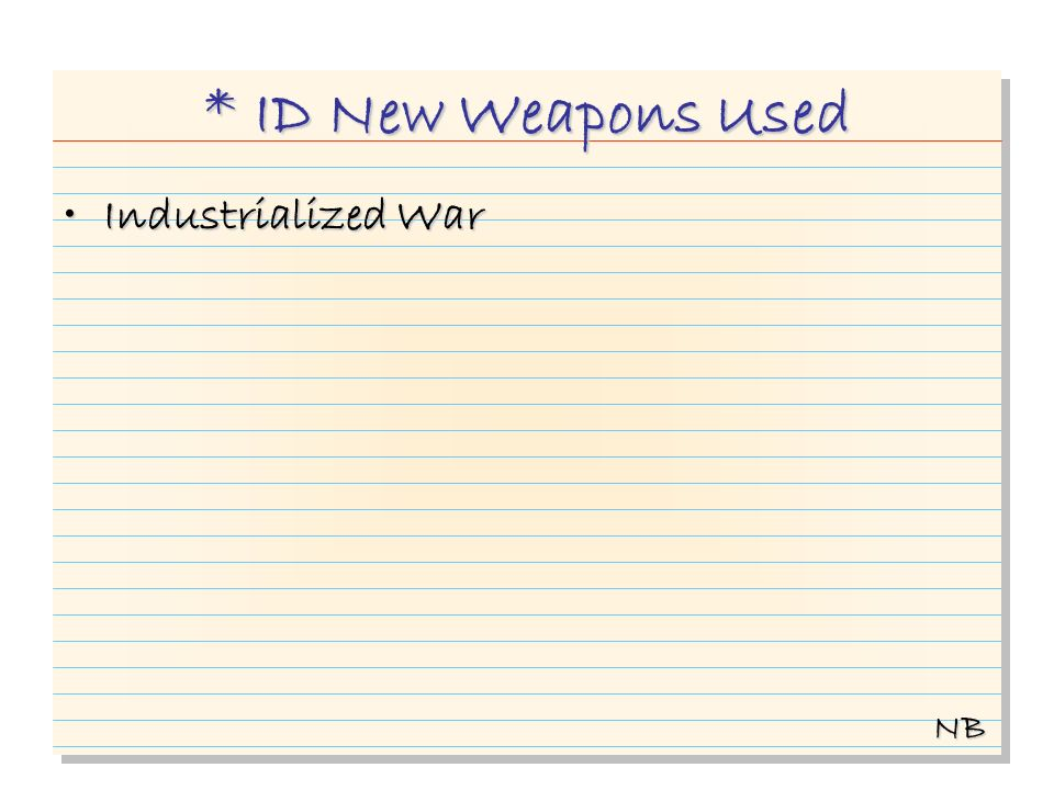 * ID New Weapons Used Industrialized WarIndustrialized War NB
