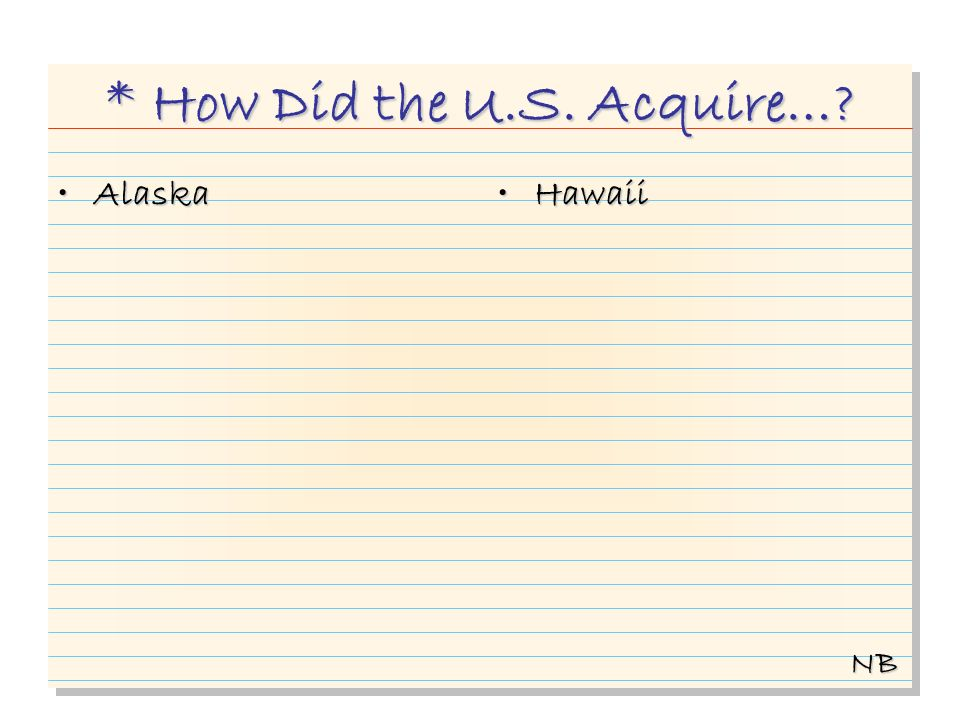 * How Did the U.S. Acquire… AlaskaAlaska HawaiiHawaii NB