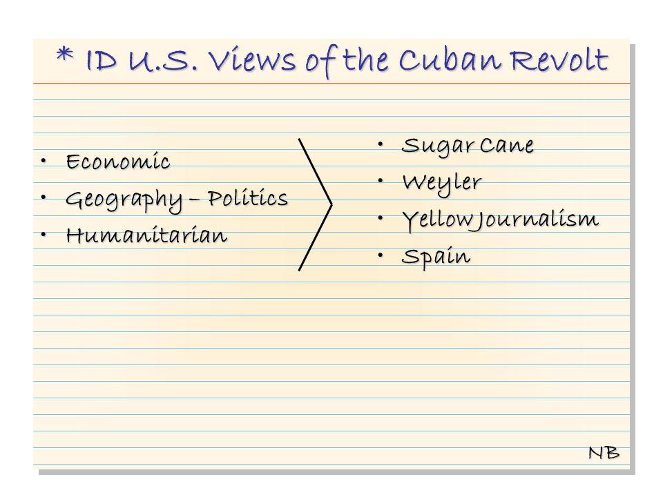 * ID U.S. Views of the Cuban Revolt EconomicEconomic Geography – PoliticsGeography – Politics HumanitarianHumanitarian Sugar CaneSugar Cane WeylerWeyl