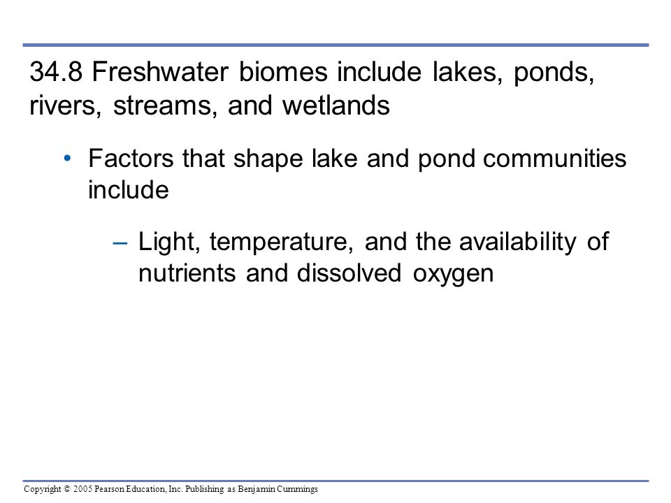 Copyright © 2005 Pearson Education, Inc. Publishing as Benjamin Cummings 34.8 Freshwater biomes include lakes, ponds, rivers, streams, and wetlands Fa