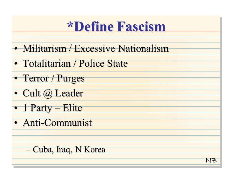 *Define Fascism Militarism / Excessive NationalismMilitarism / Excessive Nationalism Totalitarian / Police StateTotalitarian / Police State Terror / PurgesTerror / Purges Cult @ LeaderCult @ Leader 1 Party – Elite1 Party – Elite Anti-CommunistAnti-Communist –Cuba, Iraq, N Korea NB