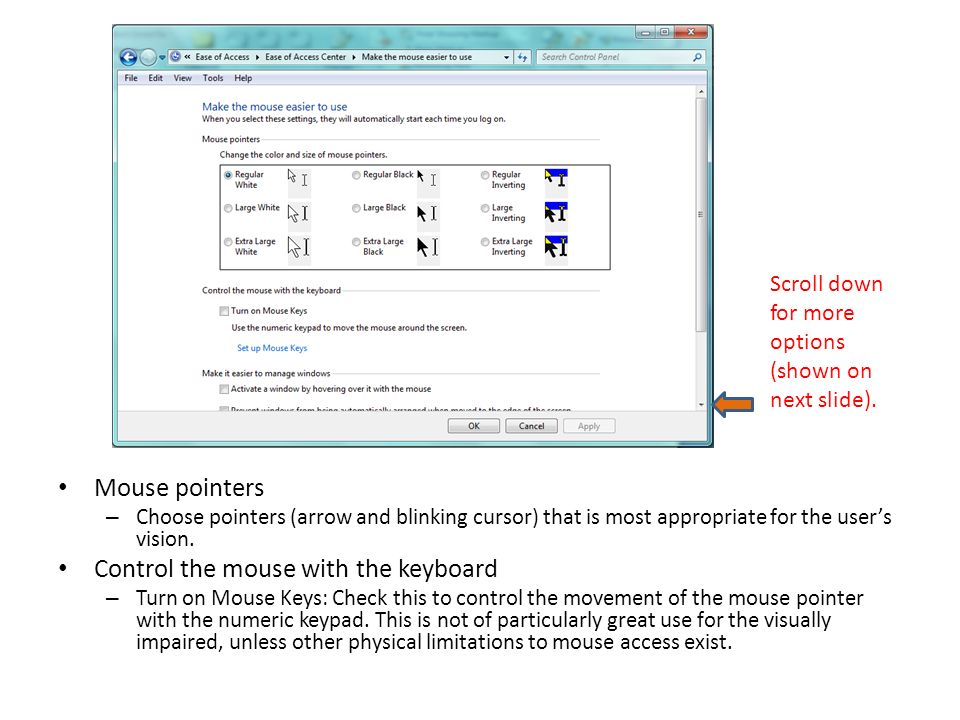 Mouse pointers – Choose pointers (arrow and blinking cursor) that is most appropriate for the users vision.