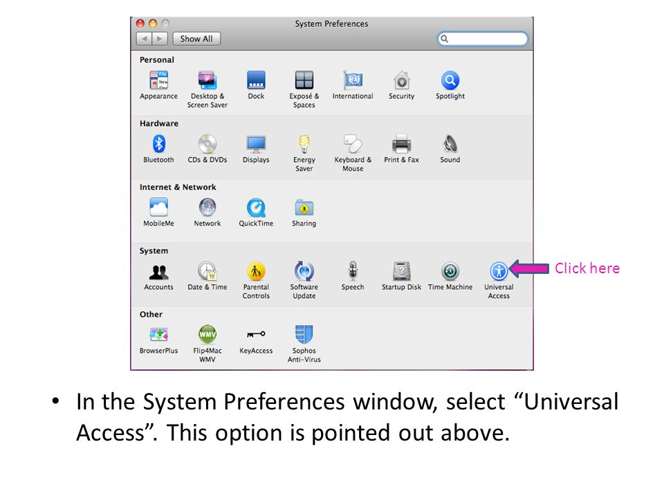 In the System Preferences window, select Universal Access. This option is pointed out above. Click here