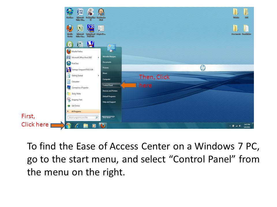 To return to the main Ease of Access window, click Ease of Access in the navigation bar, as shown above.