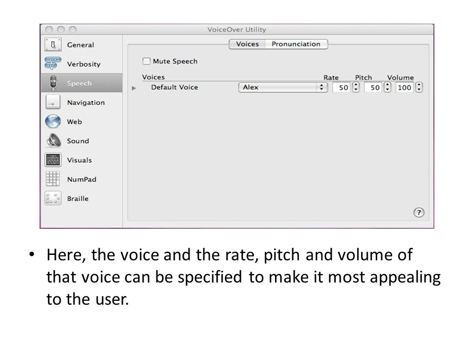 Here, the voice and the rate, pitch and volume of that voice can be specified to make it most appealing to the user.