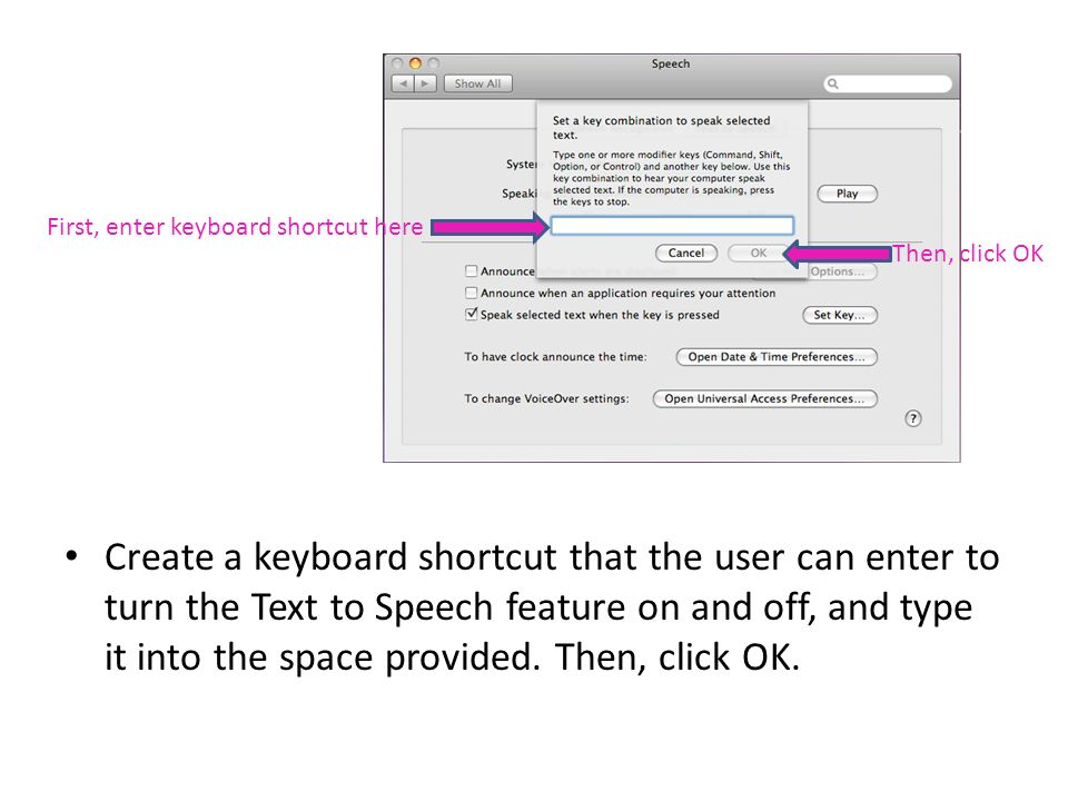 Create a keyboard shortcut that the user can enter to turn the Text to Speech feature on and off, and type it into the space provided.