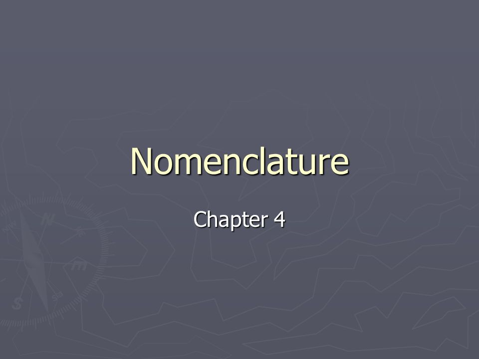Nomenclature Chapter 4