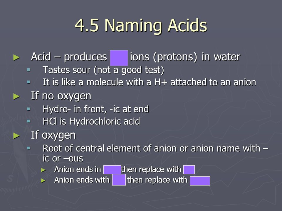 4.5 Naming Acids Acid – produces H+ ions (protons) in water Acid – produces H+ ions (protons) in water Tastes sour (not a good test) Tastes sour (not