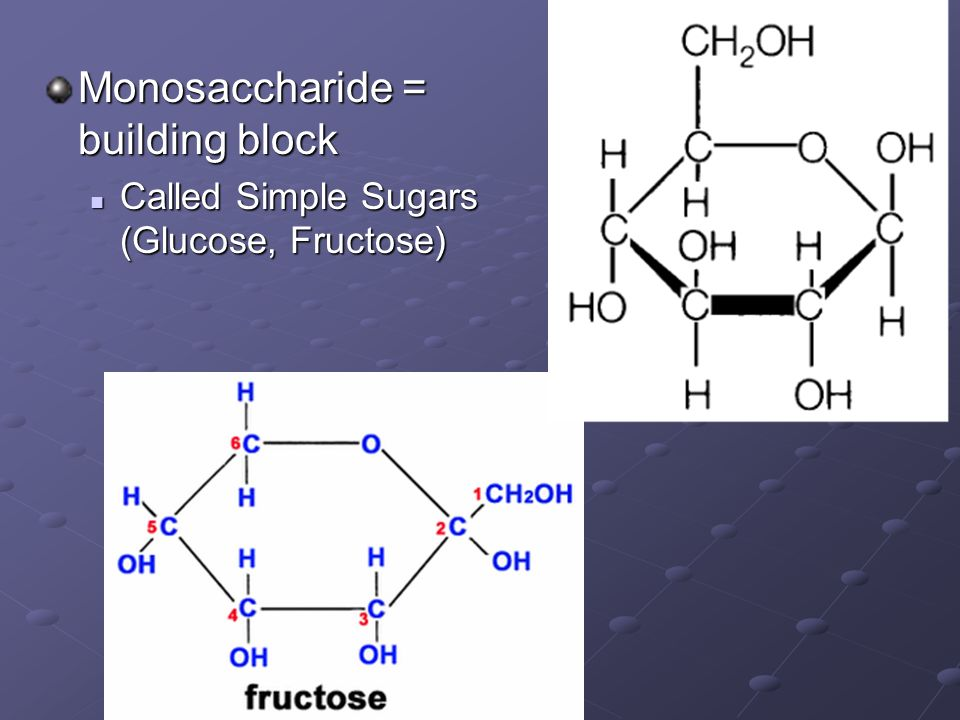 Monosaccharide = building block Called Simple Sugars (Glucose, Fructose) Called Simple Sugars (Glucose, Fructose)