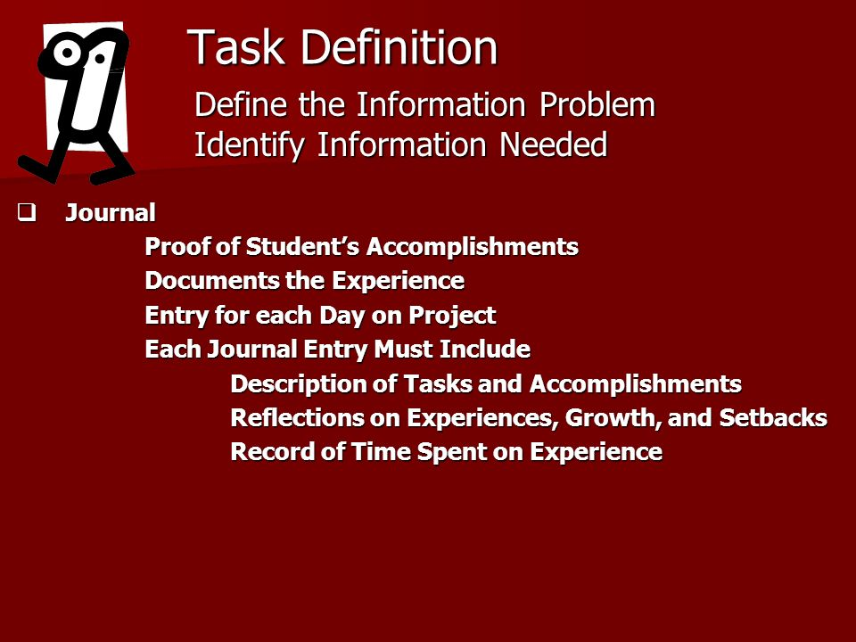 Task Definition Journal Journal Proof of Students Accomplishments Documents the Experience Entry for each Day on Project Each Journal Entry Must Inclu