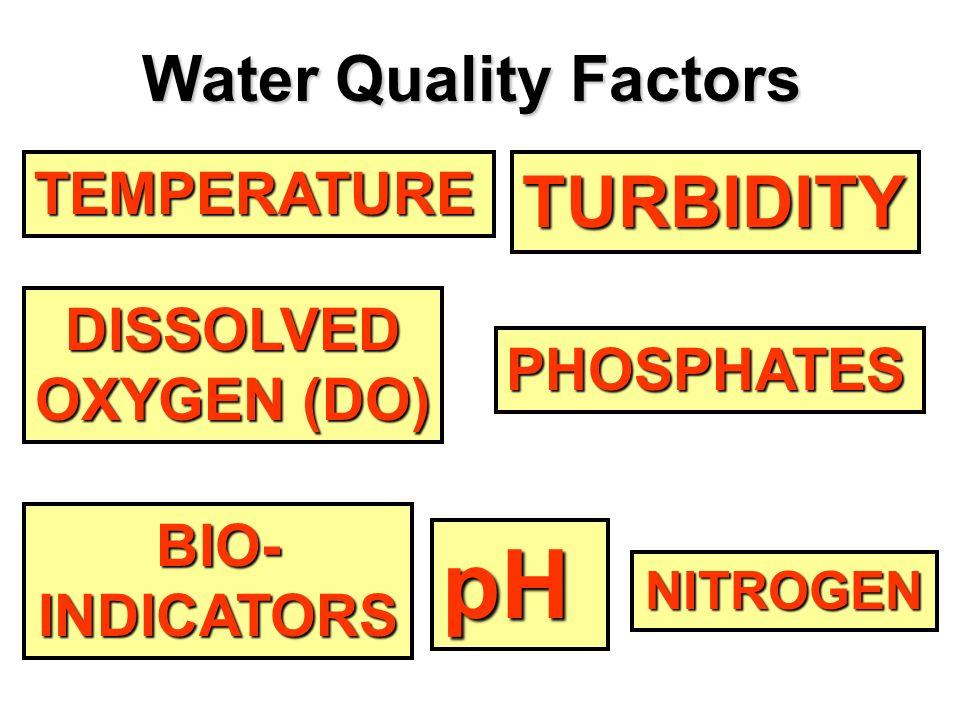 TEMPERATURE DISSOLVED OXYGEN (DO) OXYGEN (DO) pH NITROGEN PHOSPHATES TURBIDITY BIO- INDICATORS Water Quality Factors