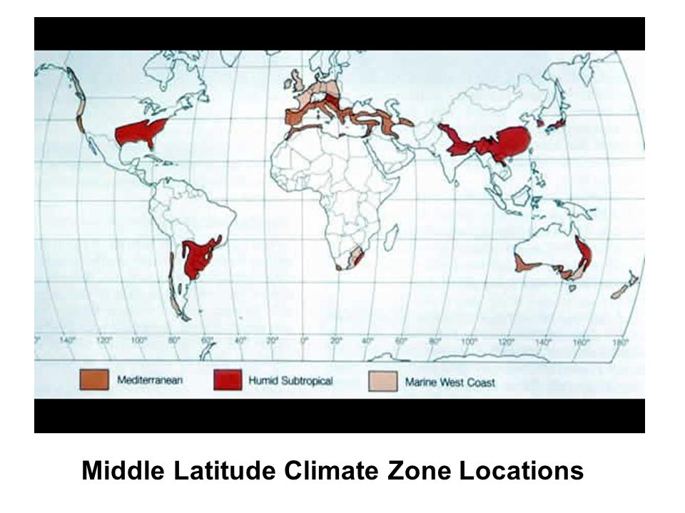 Middle Latitude Climate Zone Locations