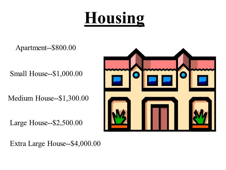 Housing Apartment--$800.00 Medium House--$1,300.00 Large House--$2,500.00 Extra Large House--$4,000.00 Small House--$1,000.00