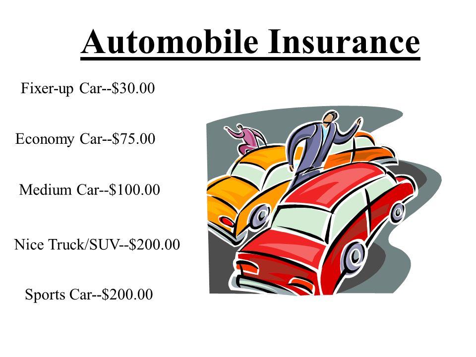 Automobile Insurance Fixer-up Car--$30.00 Economy Car--$75.00 Medium Car--$100.00 Nice Truck/SUV--$200.00 Sports Car--$200.00