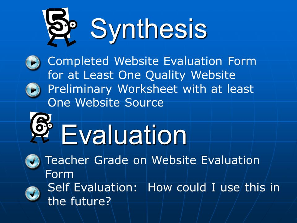 Synthesis Evaluation Teacher Grade on Website Evaluation Form Completed Website Evaluation Form for at Least One Quality Website Preliminary Worksheet with at least One Website Source Self Evaluation: How could I use this in the future