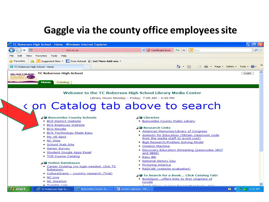 Gaggle via the county office employees site