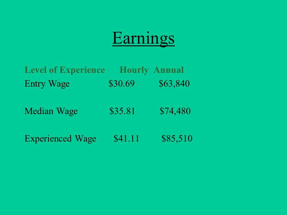 Earnings Level of Experience Hourly Annual Entry Wage $30.69 $63,840 Median Wage $35.81 $74,480 Experienced Wage $41.11 $85,510