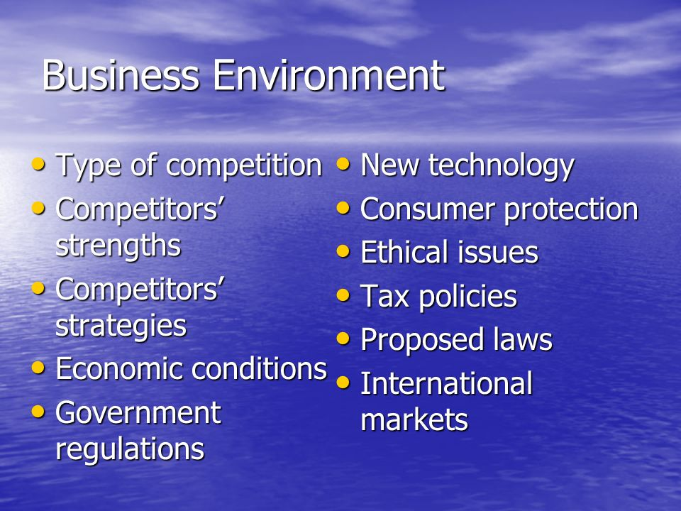 Business Environment Type of competition Type of competition Competitors strengths Competitors strengths Competitors strategies Competitors strategies