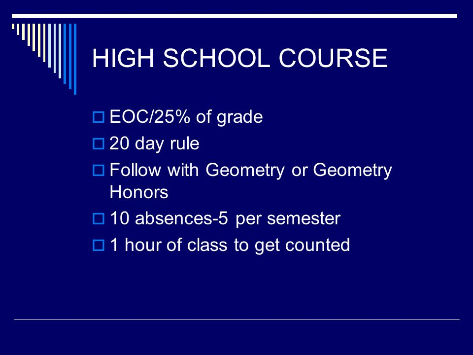 HIGH SCHOOL COURSE EOC/25% of grade 20 day rule Follow with Geometry or Geometry Honors 10 absences-5 per semester 1 hour of class to get counted