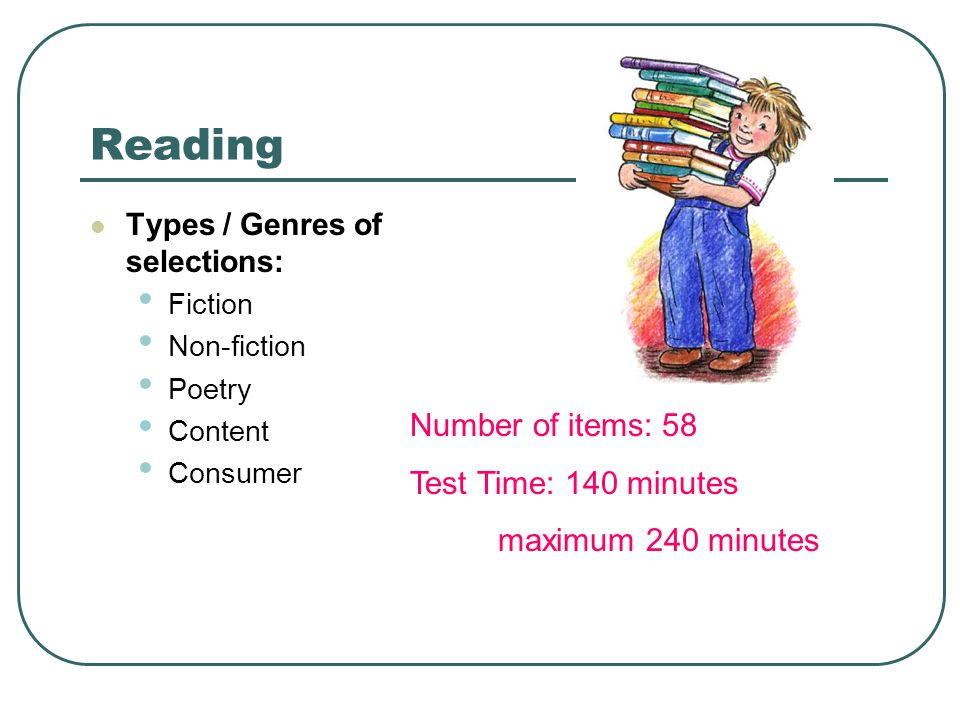 Reading Types / Genres of selections: Fiction Non-fiction Poetry Content Consumer Number of items: 58 Test Time: 140 minutes maximum 240 minutes
