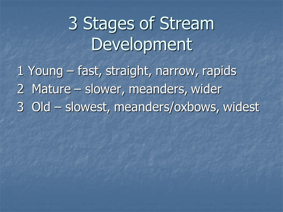 3 Stages of Stream Development 1 Young – fast, straight, narrow, rapids 2 Mature – slower, meanders, wider 3 Old – slowest, meanders/oxbows, widest