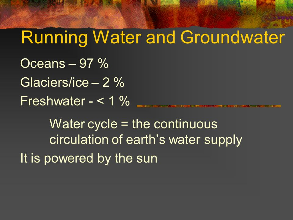 Evaporation = liquid to gas Condensation = gas to liquid (forms clouds) Precipitation = water (s,l ) returns to earth Infiltration = water that soaks into ground Runoff = water that flows across the ground Transpiration = water that plants release into the atmosphere (gas to liquid)
