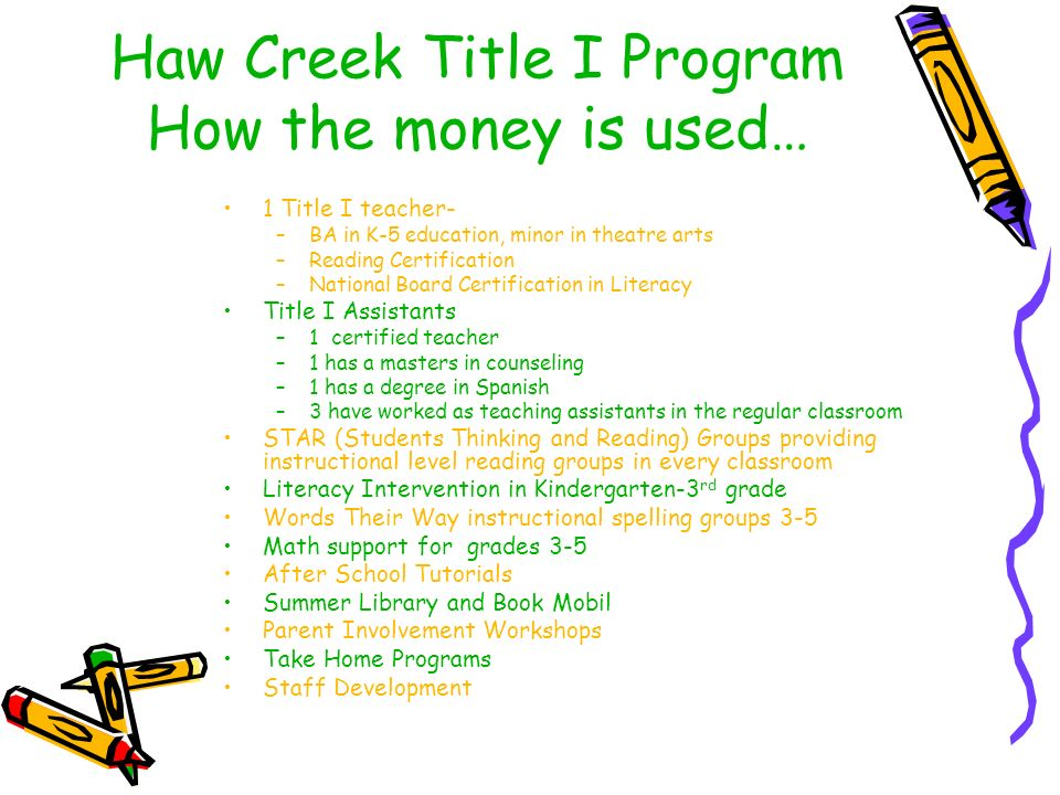 Haw Creek Title I Program How the money is used… 1 Title I teacher- –BA in K-5 education, minor in theatre arts –Reading Certification –National Board Certification in Literacy Title I Assistants –1 certified teacher –1 has a masters in counseling –1 has a degree in Spanish –3 have worked as teaching assistants in the regular classroom STAR (Students Thinking and Reading) Groups providing instructional level reading groups in every classroom Literacy Intervention in Kindergarten-3 rd grade Words Their Way instructional spelling groups 3-5 Math support for grades 3-5 After School Tutorials Summer Library and Book Mobil Parent Involvement Workshops Take Home Programs Staff Development