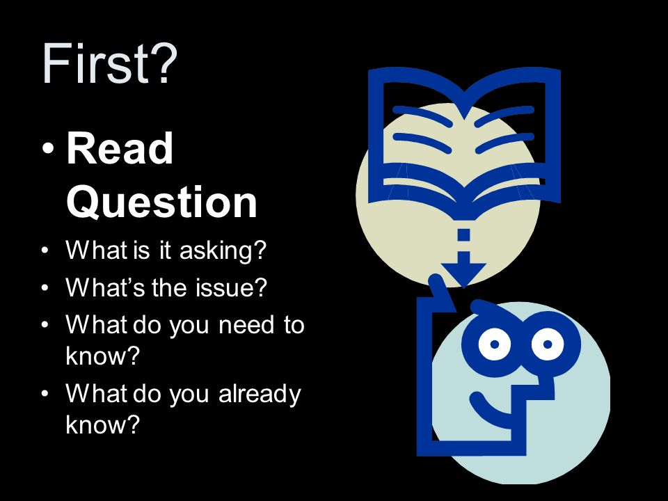 First? Read Question What is it asking? Whats the issue? What do you need to know? What do you already know?