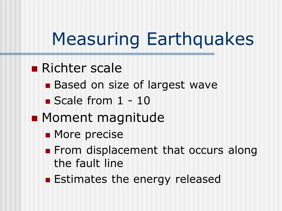 Earthquake Destruction Contributing factors Intensity of eq Duration of eq Foundation of building Structure/materials of building Damage prevention Reinforced concrete Shock absorbers Counter weights